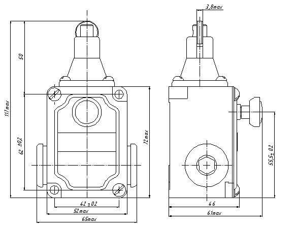 Габаритные и присоединительные размеры ВПК-2111 БФУ2